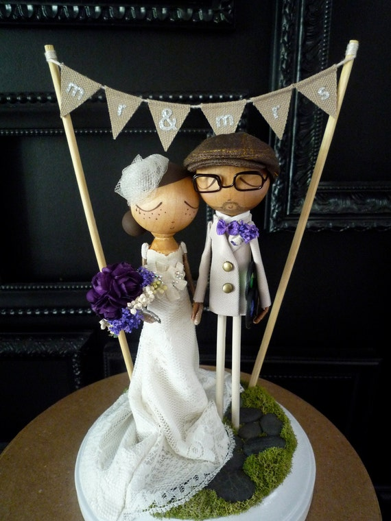 wedding cake bunting topper wedding cake topper with custom wedding dress and flag bunting 22127