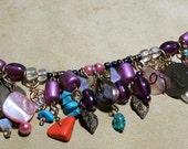 Charm Bracelet,  glass beaded Jewelry, Fashion jewelry, Womens jewelry, colored jewelry