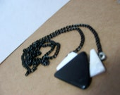 Pendant Necklace,   Abstract Womens Jewelry,Handmade jewelry, Gemstone jewelry, Obsidian and pearl chips,