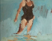"""Single swimmer black: Matted 11x14"""" Archival Print - Signed"""
