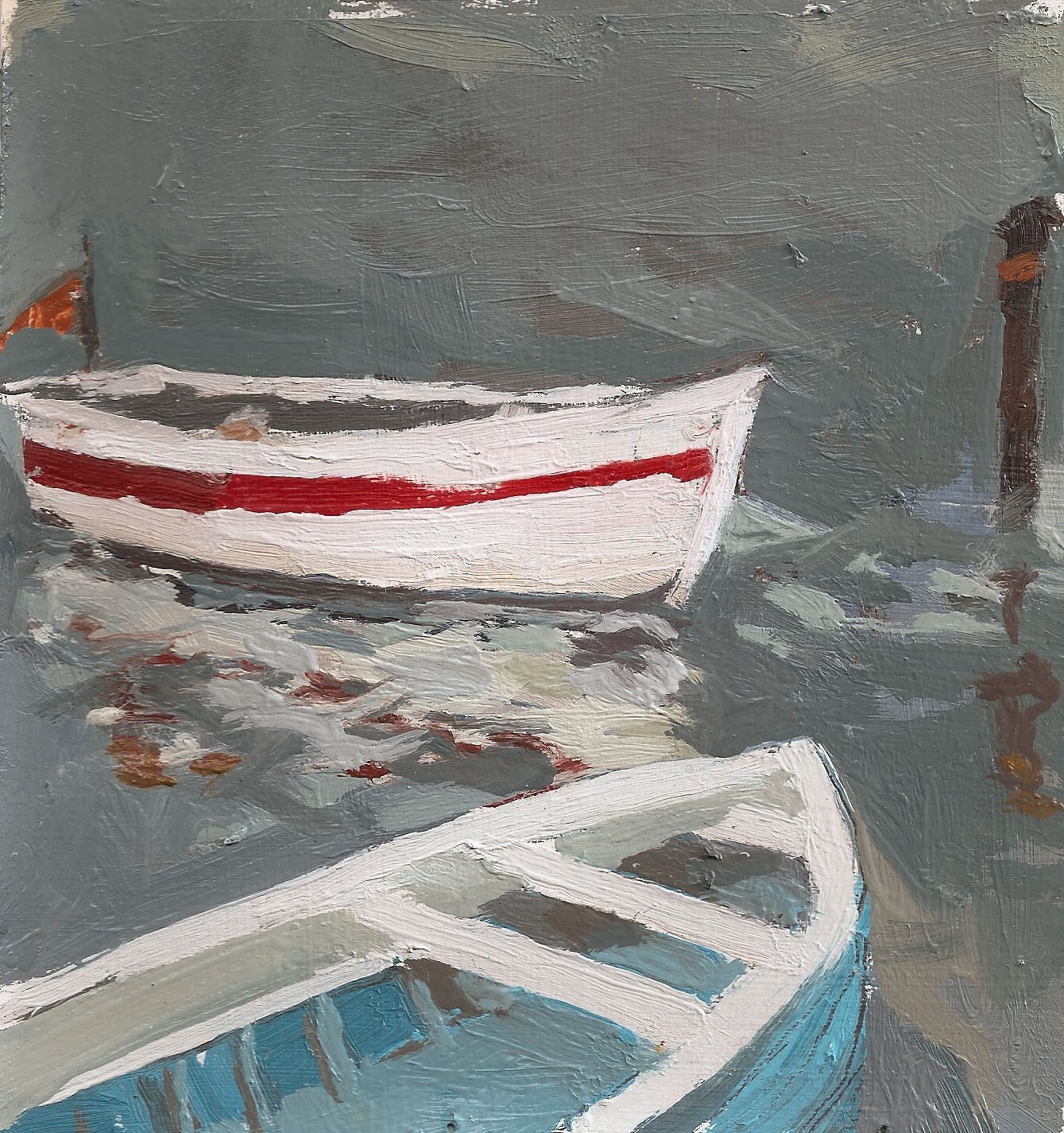Two Boats Docked Matted 11x11 Archival Print By