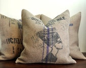 Queen of the Nile - Coffee Sack Pillow Handmade by VelvetBean on Etsy