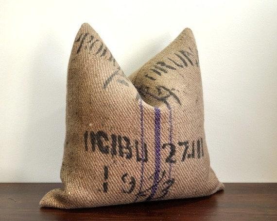 Burlap Coffee Sack Pillow - 1923