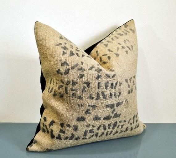"""Bennett -16"""" Velvet and Burlap Coffee Sack Pillow Handmade by VelvetBean on Etsy"""