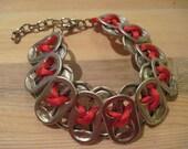 Double Layer Pop Tab Bracelet like ones worn by Kristen Stewart - Red