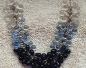 Ombre Blue Czech Glass Sterling Silver Necklace