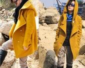 Yellow fleece coat