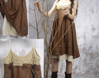 double-layer Hemp  Dress