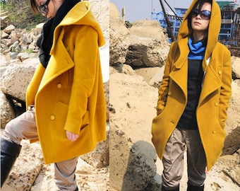 wool jacket wool coat Yellow cashmere coat