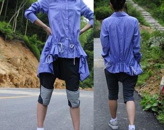 Blue Plaid Drawstring - the long shirt