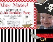 "Pirate Birthday Party Invitation - PERSONALIZED & CUSTOMIZED With Child's Photo - You Print 4"" x 6"" OR 5"" x 7"""