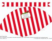 Caterpillar on Red and White Striped Cone DIY Digital PRINTABLE Food or Favor Cone