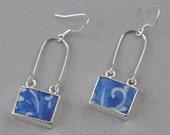 Earing antique broken china sterling silver self-design handmade Blue white