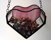 Stained glass 3-D hanging heart, rose petal holder, Valentines day decor