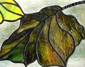Leaf suncatcher panel stained glass Autumn green brown fall home decor earthtone