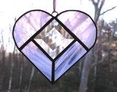 Heart  sun catcher, Stained glass pink suncatcher heart window art