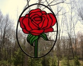Red rose stained glass suncatcher panel decorative art vibrant romantic
