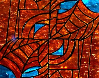 Abstract web panel, stained glass suncatcher, window treatment, modern decorative web art turquoise copper, contemporary