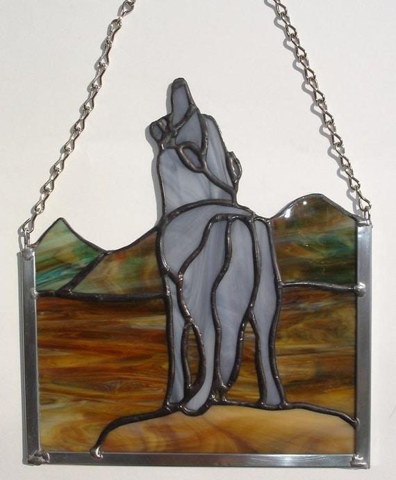 Gray Wolf Panel Stained Glass, handmade, window art