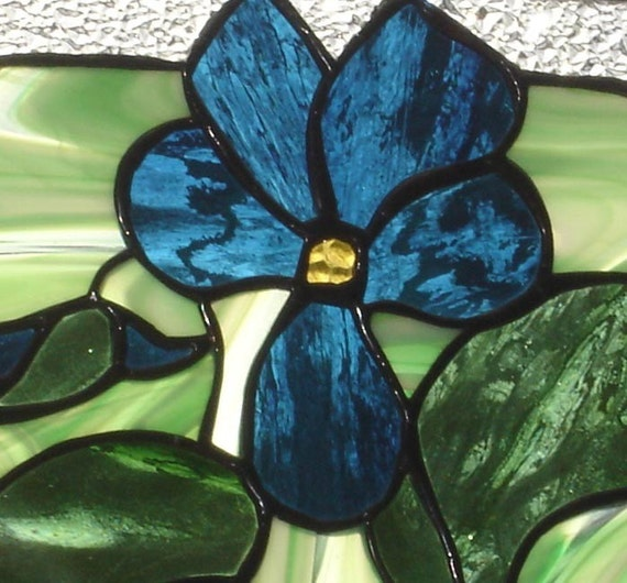 Pansy stained glass suncatcher panel, window art