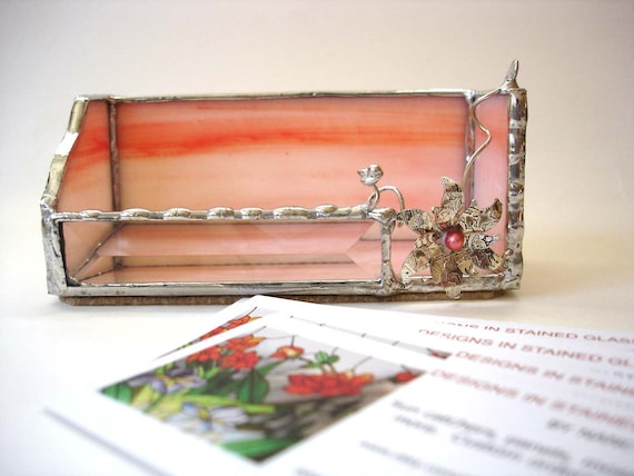 Stained glass business card holder, tangerine peach, desk accessory for her, office decor