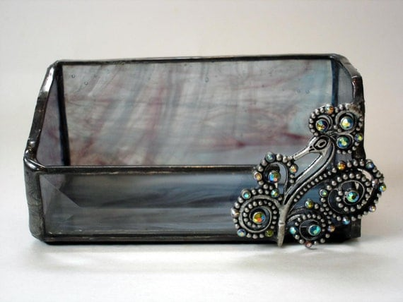 Business card holder, stained glass desk accessory peacock blue and purple