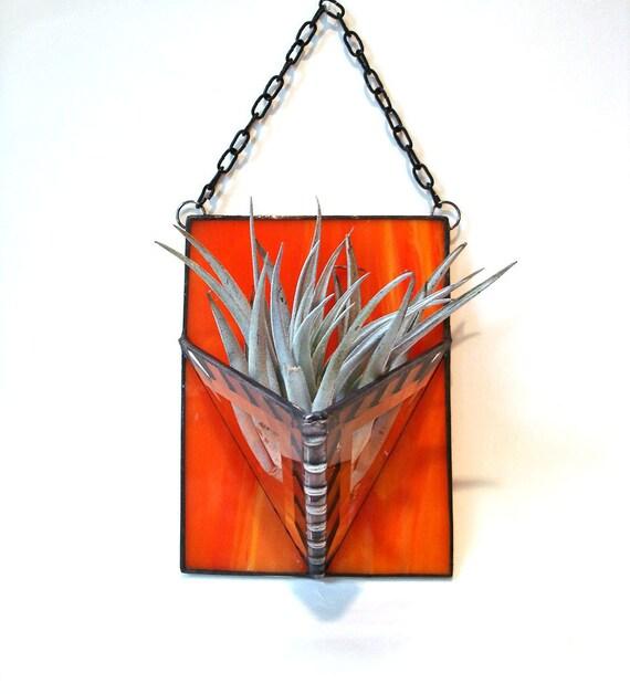 Air plant holder orange modern geometric stained glass wall planter indoor garden