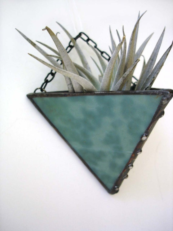 Air plant holder, stained glass sea green teal triangle wall decor modern home indoor garden