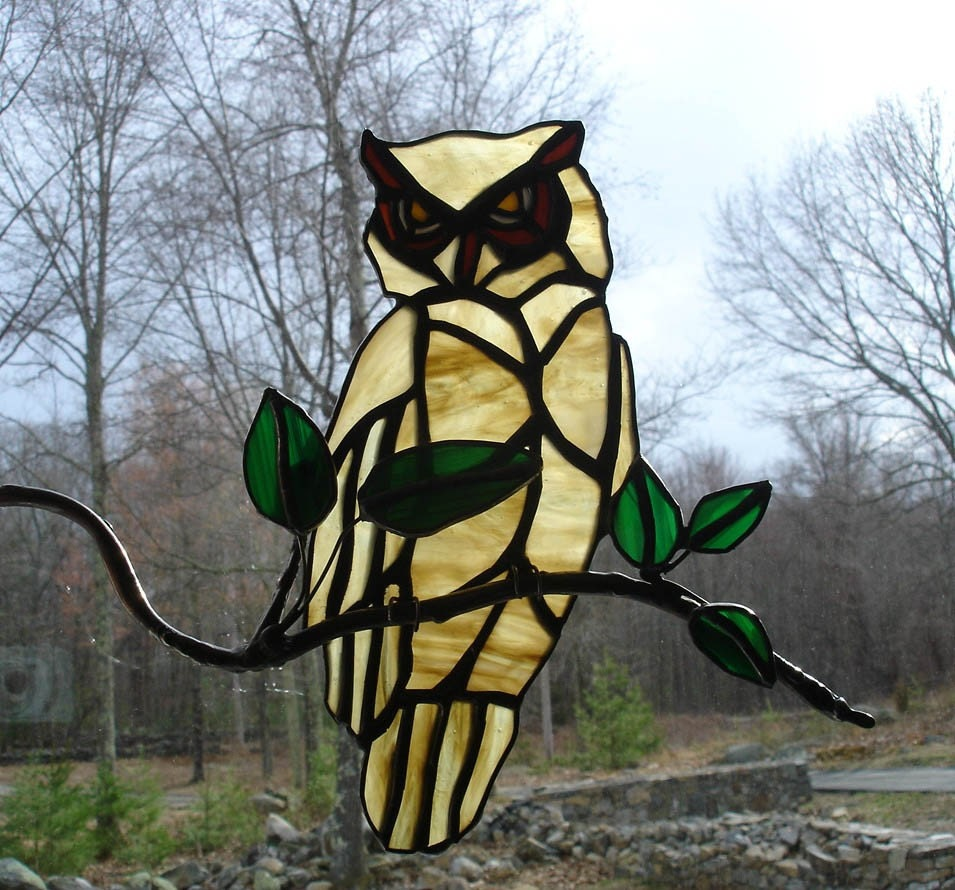Owl On A Branch Stained Glass Window Art Handmade Unique