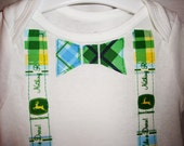 Boy's John Deere theme PLAID onesie Bow tie and Suspendors style - ANY SIZE