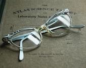 vintage CAT EYE floral eyeglasses frames by MARINE USA