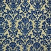 entire roll of vintage blue and metallic gold flocked damask wallpaper.