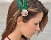 Gypsy Girl Green Feather Hair Clip, Hair Piece