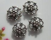 4 pcs, 8x8mm, Oxidized Sterling Silver Beautiful Flower Connectors, Link (double side), Bali Artisan - CC-0015