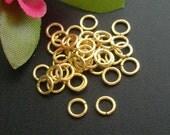 24K Gold Vermeil Sterling Silver Open Jump Ring, 4mm, 22 gauge Bulk 50 pcs - v4jo22