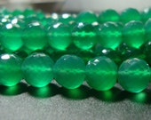 Reduced from 19.90,  8.5-9mm, AAA Beautiful Green Onyx Micro Faceted Round Beads - Amazing Color