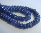 3 Inch Strand, 3mm, Natural Blue Sapphire Smooth Rondelle Gemstone Burmese - M13-1