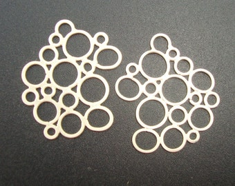 Handmade Sterling Silver Artsy Bubble, Cloud, fancy circles Connector, Link, Pendant, Earring Findings - CC-0020