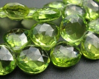 10 pcs, 7-8mm, Peridot Gemstone Heart Bead, Apple Green Peridot Faceted Heart Briolette