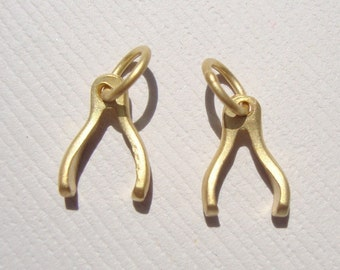 2 pcs, 24K Gold Vermeil Sterling Silver Tiny Wishbone Good Luck Charm