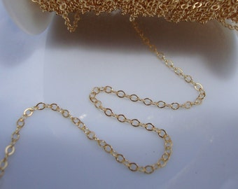 14K Gold Filled Hammered Cable Chain, 2mm wide, Pretty Popular chain, 1 ft