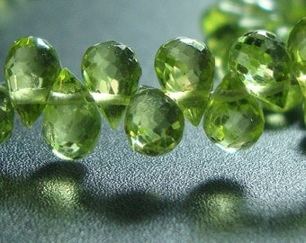 Peridot Apple Green Lovely Baby Micro Faceted Teardrop Briolettes, 20 pcs - 3x5mm