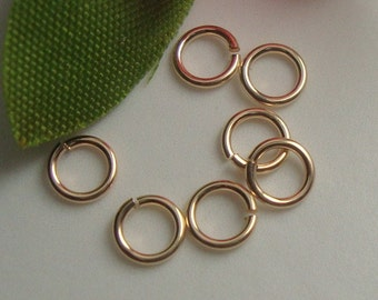 10 pcs, 6mm, 22 gauge, 14K Gold Filled open jump rings, made in usa