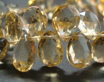 Resevered 8 briolettes - 8.5-9.5mm - Genuine Juicy Honey Citrine Micro Faceted Pear Briolette - S4-6b