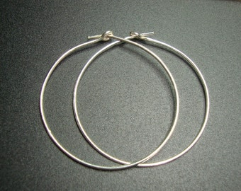 Bali Artisan, Sterling Silver earring Hoops, 35mm -  4 pcs