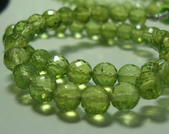 Gorgeous Sparkling Genuine Peridot Micro Faceted Round Beads, 1/2 strand, 4.5mm, August Stone