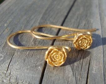 2 pairs, 26x5.5 mm, Bali Artisan, 24k Vermeil Sterling Silver, Vintage Victorian Look Rose Blossom / Floral Earwires - EW-0012