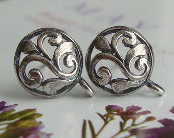 5% off, SAVE - Bulk 5 PAIRS - 12x9.5mm -- Bali Artisan -- Sterling Silver Oxidized Leaf Scroll Post Earwires