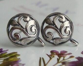 Sterling Silver Oxidized Leaf Scroll Post Earwires,Fleur De Lis, 2 PAIRS - 13x9.5mm - EP-0002