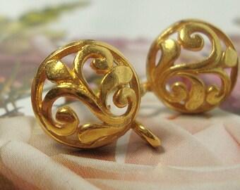 Handmade 24K Gold Vermeil over sterling Silver Leaf Scroll Post Earwires, 13x9.5mm,sale, 6% off 20 pcs, Bali Artisan - sale - EP-0002